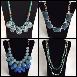 Jewelry - Lot of 4 blue silver statement necklaces